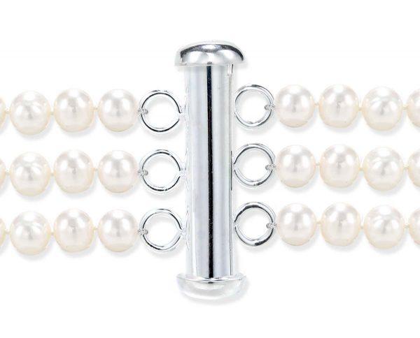 Triple Strand Silver Rod Jewelry Bracelet Clasp