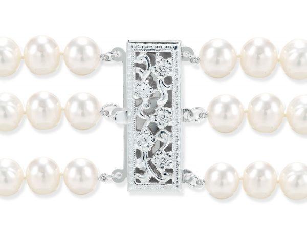 Triple Strand Pearl Silver Clasp