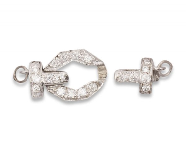 White Diamond Buckle Clasp for Pearl Necklace