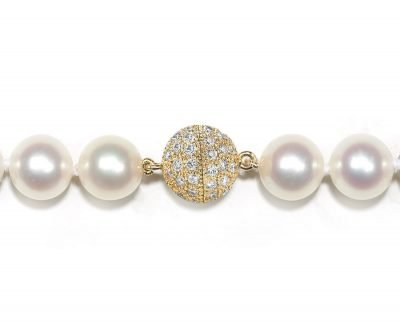 8mm Center Screw Diamond Ball Necklace Clasp
